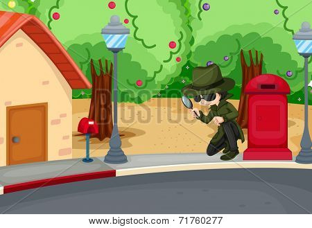 Illustration of a detective at the road with a magnifying lens