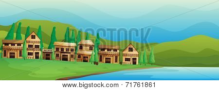 Illustration of the saloon bars near the river