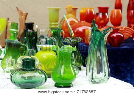 colorful glass vases at the flea market