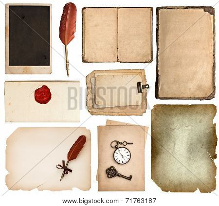 Vintage Book Pages, Cards, Pieces Isolated On White