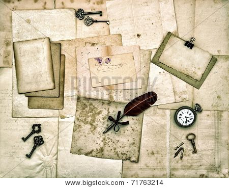 Old Letters And Photos, Vintage Keys, Antique Clock, Feather Ink Pen