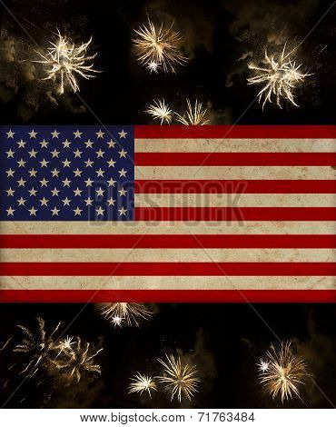 Vintage American Flag Over July 4Th Fireworks