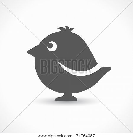 black bird icon over gray background / bird symbol