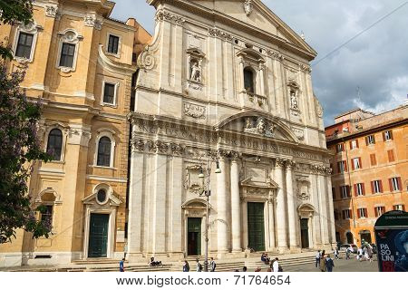People On The Square In Front Of The Church Santa Maria In Vallicella ( Chiesa Nuova ), Rome
