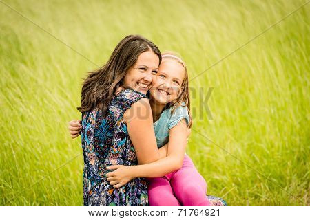 Mother and child embracing