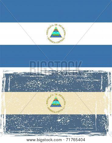 Nicaraguan grunge flag. Vector illustration