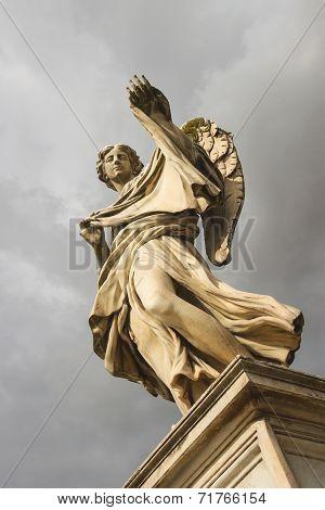 Angel With The Sudarium (veronicas Veil)  On The Bridge Of Castel Sant'angelo, Rome Italy