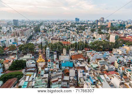 Downtown - skyline view before sunset fall, Saigon, Vietnam