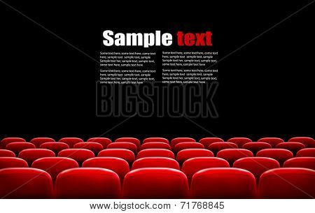 Rows of red cinema or theater seats in front of black screen with sample text space. Vector. poster