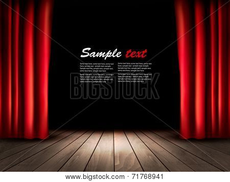 Theater stage with wooden floor and red curtains. Vector.