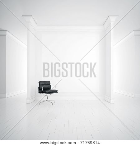 White Interior With Armchair And Blank Poster