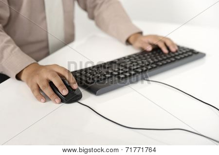 Business Man Typing With Keyboard
