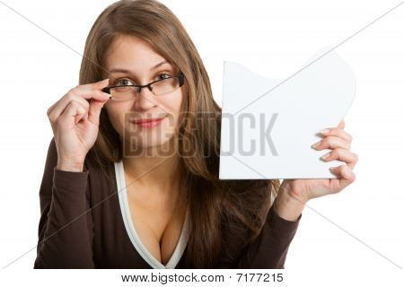 Woman Exposing Puzzle Card