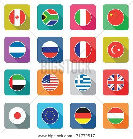 set of colourful flat world flag icons