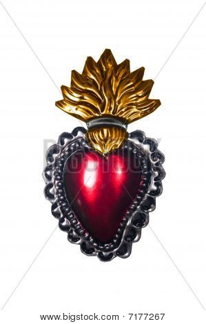 Sacred Heart Gold Flames