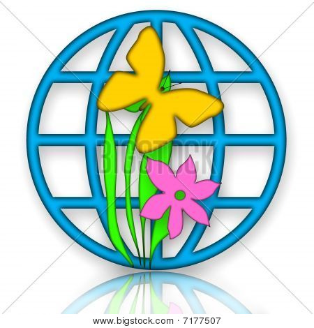 Globe, Butterfly and Flower