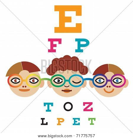 Children Testing Eyesight