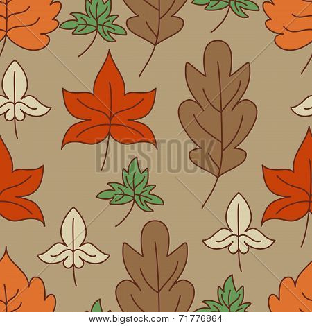 Autumn Leaves Seamless Pattern. Vector Illustration