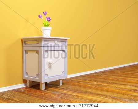 nightstand with flower