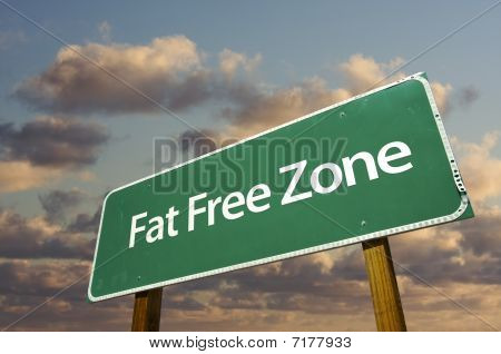 Fat Free Zone Green Road Sign And Clouds