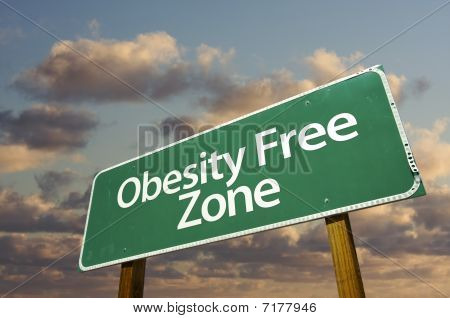 Obesity Free Zone Green Road Sign And Clouds