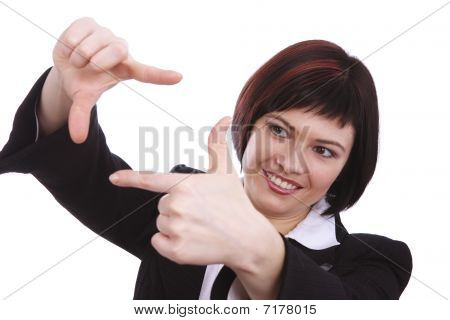 Business Woman With Framing Hands