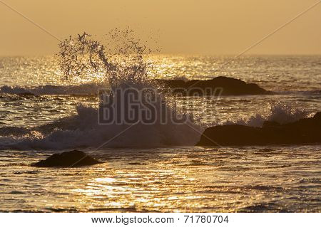 wave splash at sunset, St. Bride's