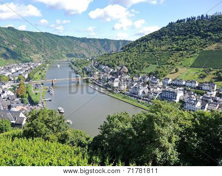 Moselle River, Vineyards, Cochem Town In Germany