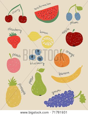 Doodle Fruits In Retro Colors