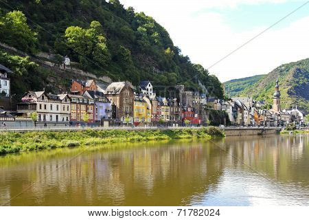 Waterfront In Cochem Town On Moselle River