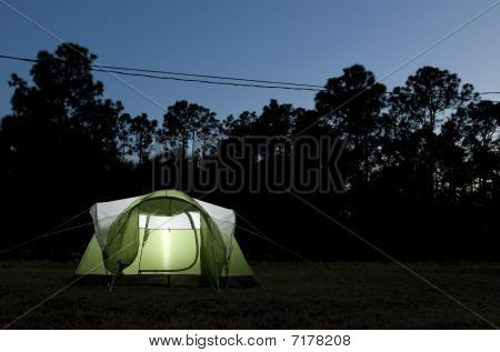 Green Glowing Tent
