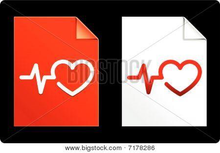 Pulso del corazón en el conjunto de papel
