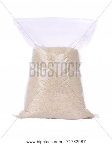 Rice plastic bag package on white background.