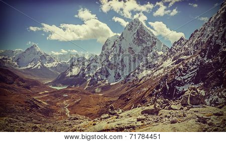 Retro Vintage Filtered Picture Of Himalaya Mountains Landscape, Nepal.