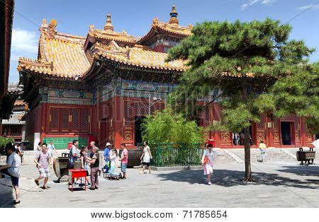 Tourists Walking About Yonghegong Lama Temple