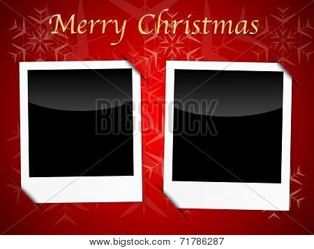 Christmas Card Templates On Red Snowflake Background