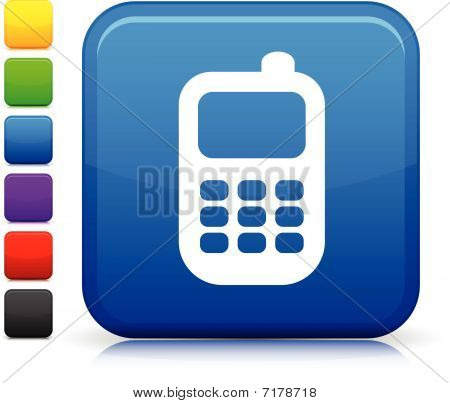 Smart Phone Icon On Square Internet Button