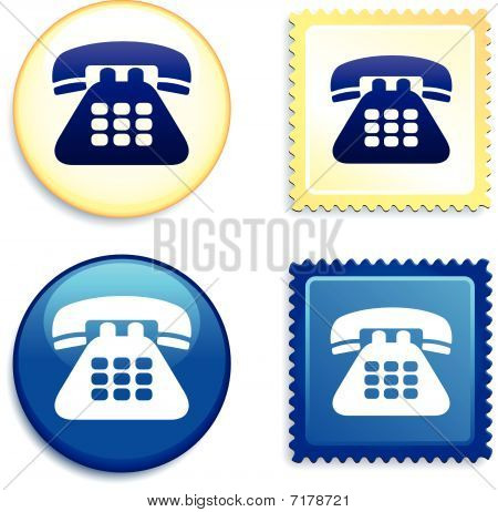 Telephone Stamp And Button
