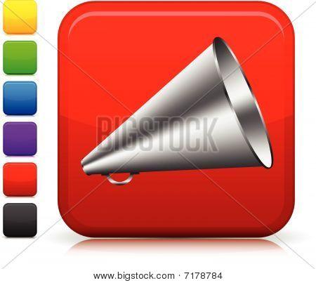 Loudspeaker Icon On Square Internet Button