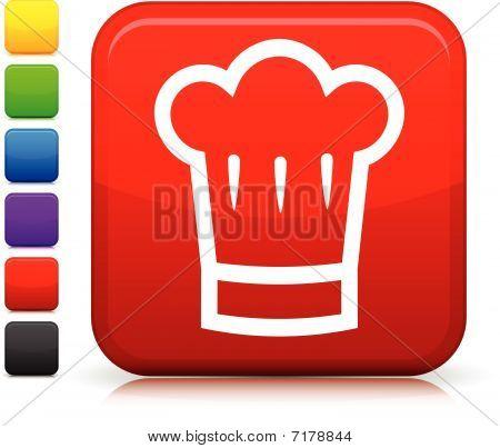 Chef's Hat Icon On Square Internet Button