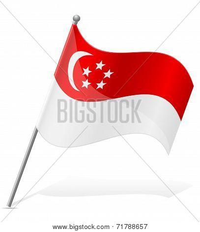 Flag Of Singapore Vector Illustration