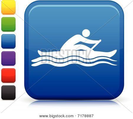 Sport Symbol auf Quadrat Internet-Taste Rudern