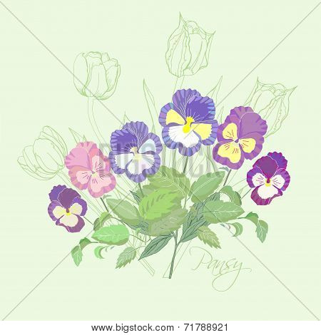 Bouquet  with pansies and tulips
