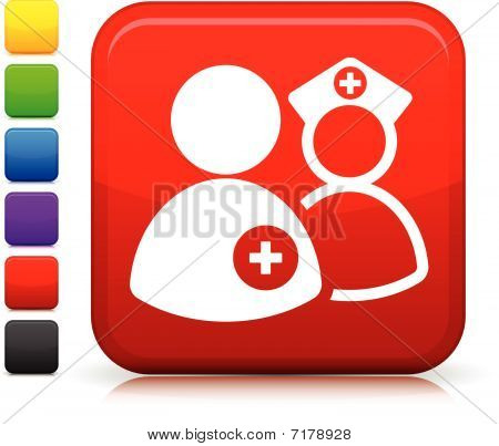 Medical Staff  Icon On Square Internet Button