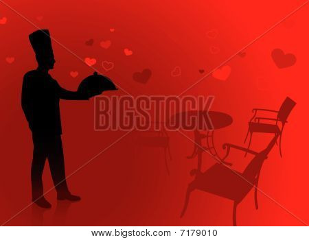 Chef On Romantic Date Background