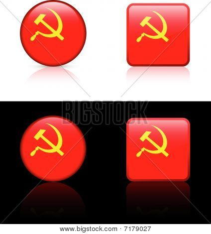 Ussr (cccp) Flag Buttons On White And Black Background