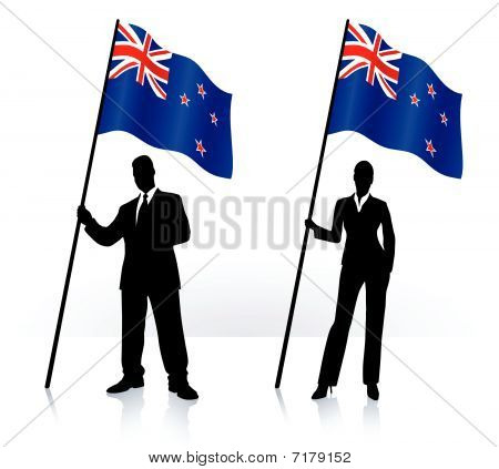Business Silhouettes With Waving Flag Of New Zeland