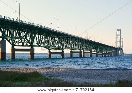 Mackinac Bridge In The Evening