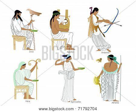 A set of Ancient Greek gods