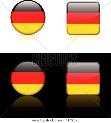 Deutschland-Flag Schaltflächen auf weiße und schwarze Hintergrund
